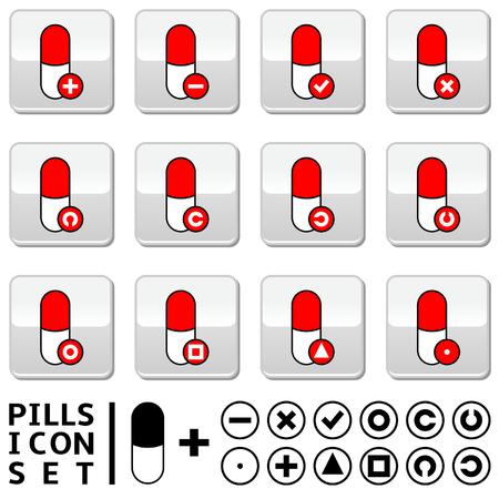 paracetamol: Pills icon set - multi color pills and symbols Illustration