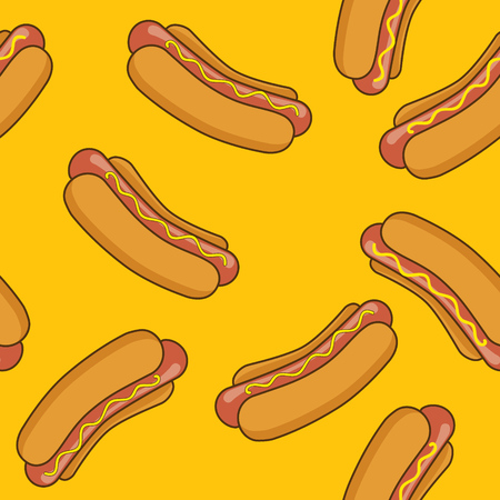 hot: Hot-dog yellow pattern Illustration