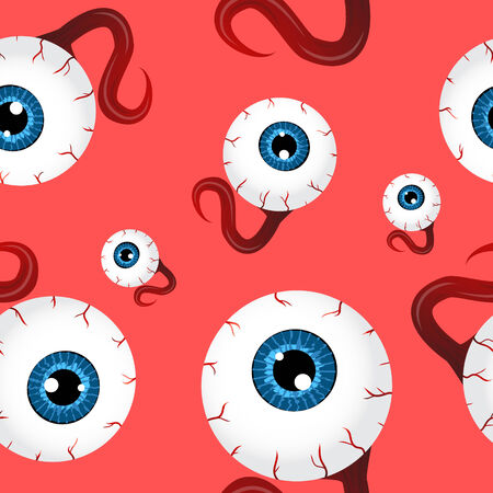 halloween eyeball: Funny seamless pattern with eyeballs over red background