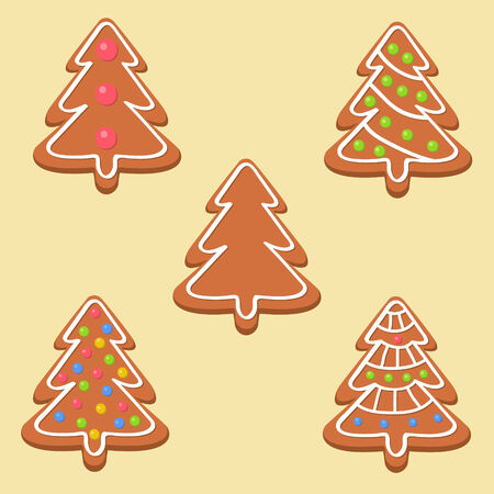 shortbread: Christmas cookies with different decorations over light background Illustration