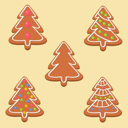 bułka maślana: Christmas pliki cookie z różnych ozdób ponad jasnym tle