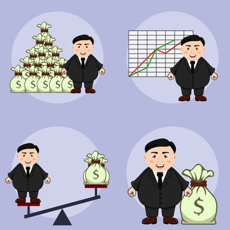 Fat businessman in different situations over blue background Vector