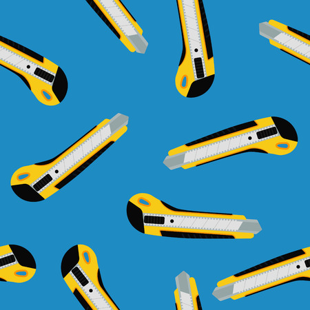 office paper: Cutter knife (office paper knife) seamless pattern. Flat style design.