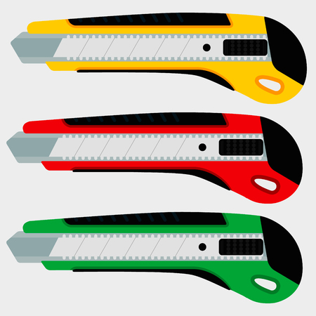 office paper: Cutter knife (office paper knife) set in three colors. Flat style design.
