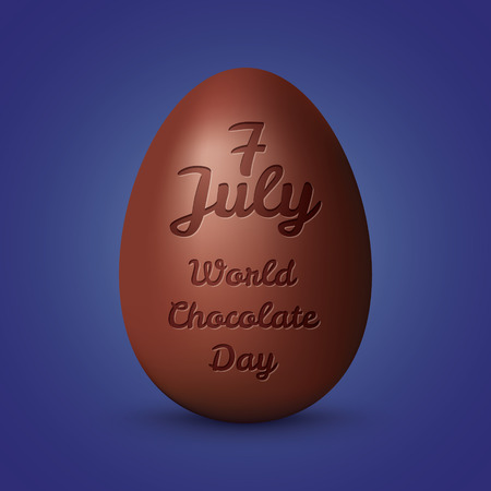 chocolate egg: Chocolate egg. World chocolate day concept. Illustration with chocolate and typography elements. Elegant background with text design of happy chocolate day.World Chocolate Day July 7th 2016.