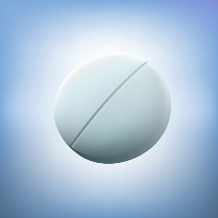 pastille: Round white tablet. Realistic illustration.Macro medical pill or pastille. Medical concept. Panacea and the preparation of future.The development of new medical Illustration