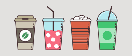 non alcoholic: Colorful vector set of flat cups and jars with tasty non alcoholic beverages and cocktails. Icon set illustration.