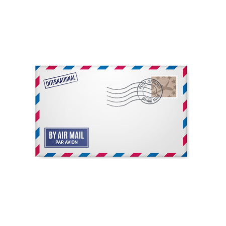 postal stamp: Air mail envelope with postal stamp isolated on white background.