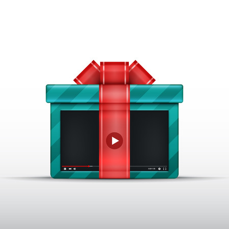 presentaion: Gift video box with bow and ribbon. Vector illustration. Video lessons concept. Stream or presentaion. Free media or video content.