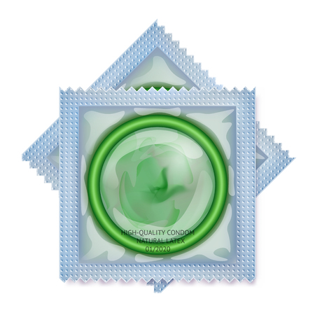 Packaging with a condom. Set of latex condoms in package. Concept for healthcare banner and AIDs or HIV control poster. Contraceptive method. Objects isolated on transparent or white background.