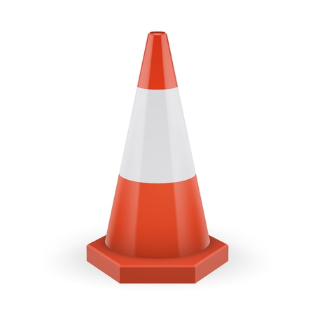 Orange traffic cone on a polygonal base with white stripe