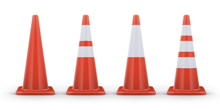 Traffic cones isolated on white or transparent background. Realistic vector illustration. Traditional road safety elements. Road cone with white stripes.