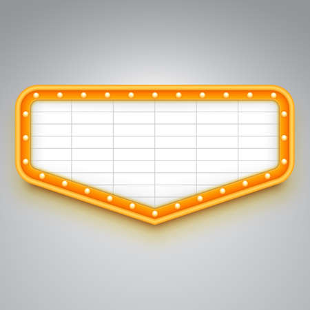 Wall signboard with marquee lights. Retro style design. Frame with light bulbs. Vector illustration.
