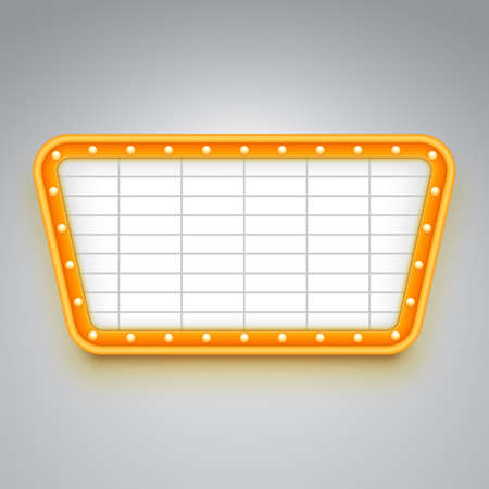 Bright wall signboard with illumination. Retro style design. Frame with light bulbs. Vector illustration.