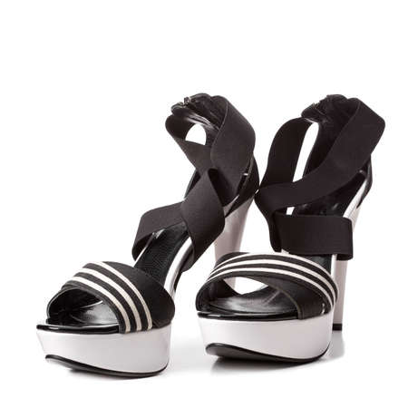 striped sandals isolated on white Stock Photo - 12523606