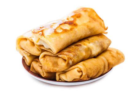 Blini. Traditionelle Pfannkuchen gefüllt mit Fleisch. Gekocht. Standard-Bild - 12523559