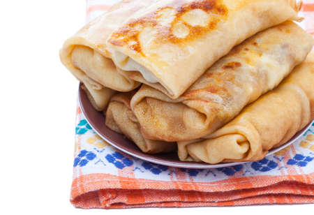 blini: Blini. Traditional pancakes filled with meat. Cooked. Stock Photo