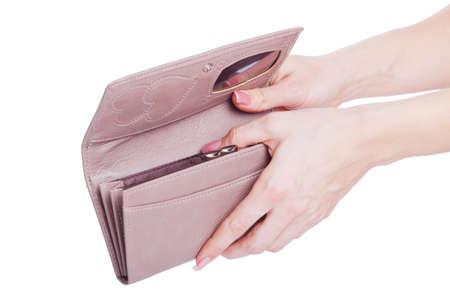 change purse: Opening Change Purse isolated on white