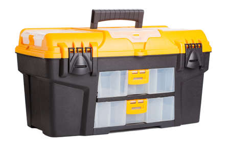 plastic toolbox on white background photo