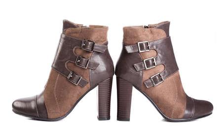 beautiful high heels shoe in brown leather. Imagens