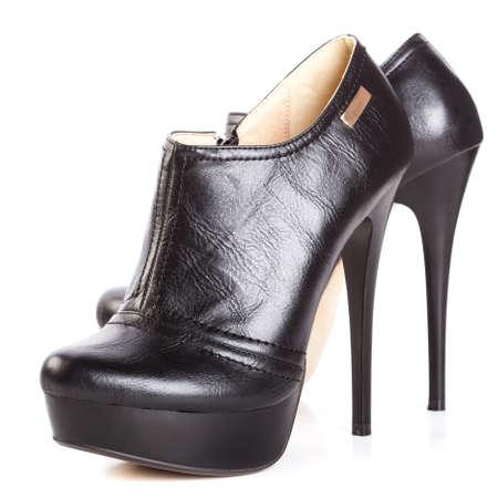 beautiful high heels platform pump shoe in italian luxury black leather