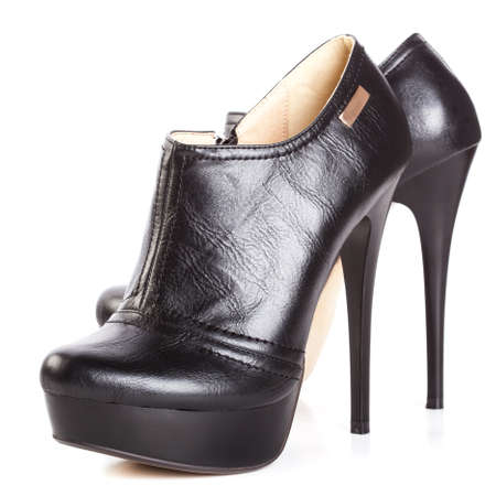 beautiful high heels platform pump shoe in italian luxury black leather  photo