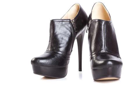 fetishes: beautiful high heels platform pump shoe in italian luxury black leather