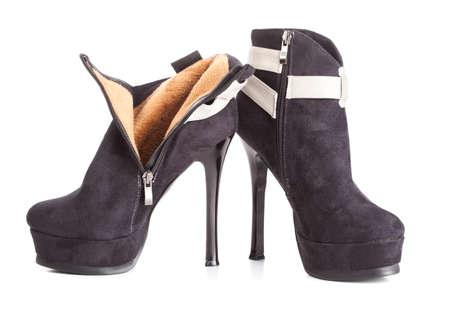 Beautiful high heels platform pump shoe in italian luxury black leather  photo