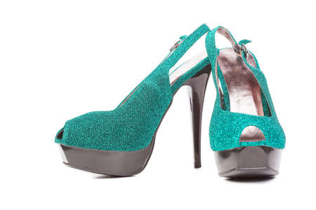 turquoise high heels pump shoes isolated Stock Photo - 13378633