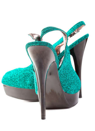 turquoise high heels pump shoes isolated Stock Photo - 13378613