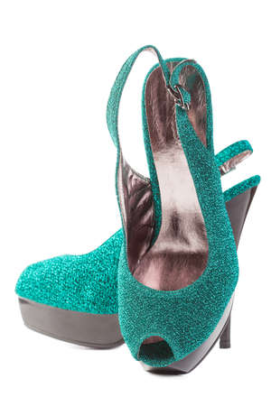 turquoise high heels pump shoes isolated Stock Photo - 13378652