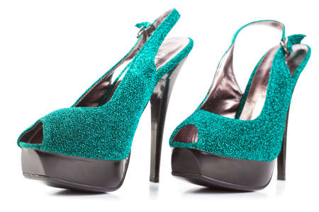 turquoise high heels pump shoes isolated photo