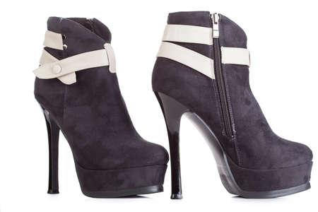 Beautiful high heels platform pump shoe in italian luxury black leather. Imagens