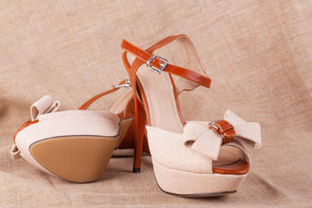 Sexy high heel shoes on rough fabric Stock Photo - 13544935