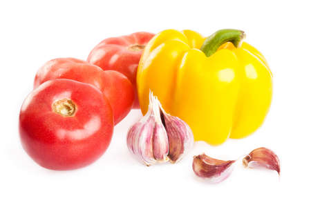 Fresh tomato, paprika and garlic isolated on white Stock Photo - 13929298