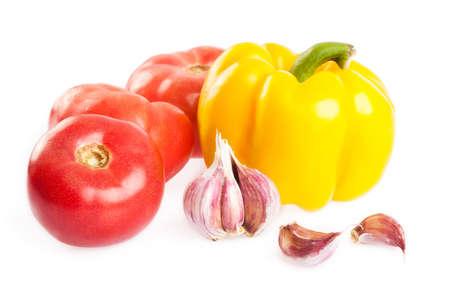 Fresh tomato, paprika and garlic isolated on white Stock Photo - 13929298