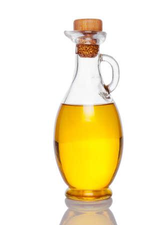 jarra: frasco con aceite aislado en blanco Foto de archivo
