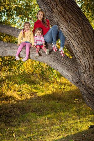 climbed: family climbed up a tree Stock Photo