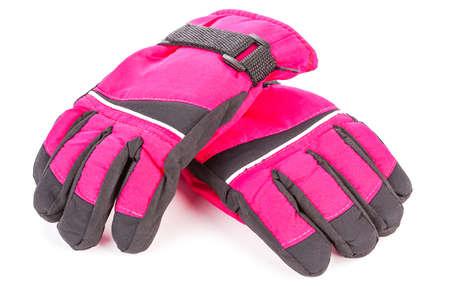 rode winter handschoenen geà ¯ soleerd op wit Stockfoto