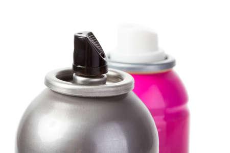 Rosa Schuss Spraydose auf weiß mit Kappe isoliert Standard-Bild - 17468822