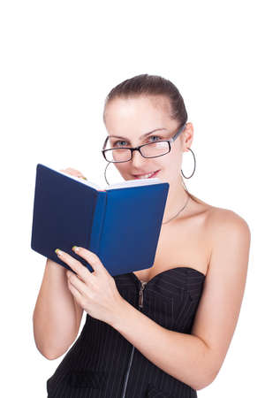 Secretary  Portrait of young smiling woman with book photo