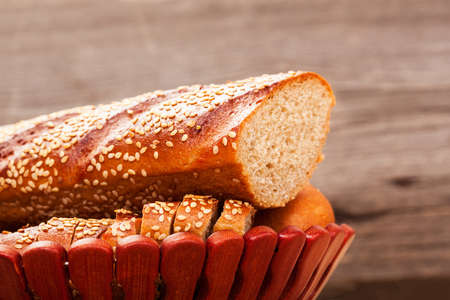 taken: The closeup of baguette with seeds