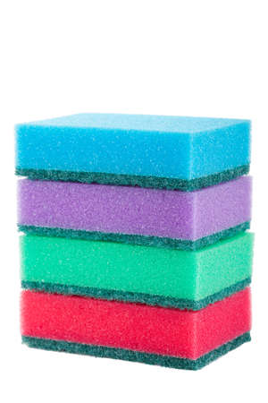 Group of kitchen sponges isolated on the white background Stock Photo - 18544503