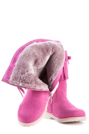 children's winter pink boots isolated on white background Stock Photo - 19558819