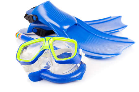 Scuba snorkeling blue diving set. Isolated on white. Imagens