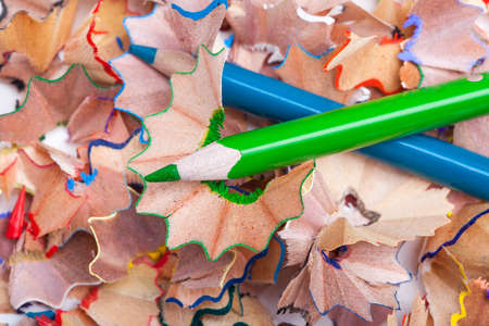 Colored pencil shavings and sharpener photo