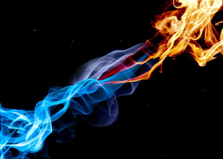 Blue and red fire photo