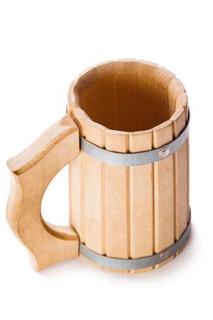 bathe mug: wooden mug isolated on white