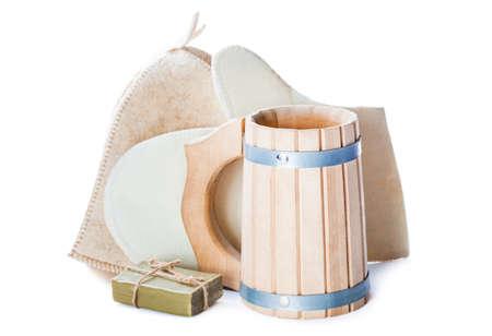 bathe mug: mug bast and soap isolated on white
