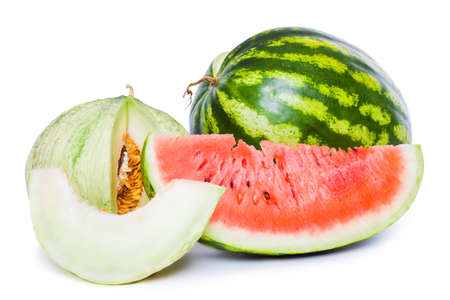 ripe sliced watermelon and melon isolated on white Imagens